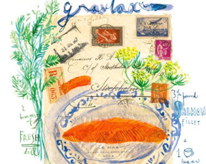 Gravad lax, Scandinavische Recept illustratie afdrukt, aquarel schilderen, keuken decor, Zweeds voedsel kunst, dille, Nordic schotel, Noorse keuken