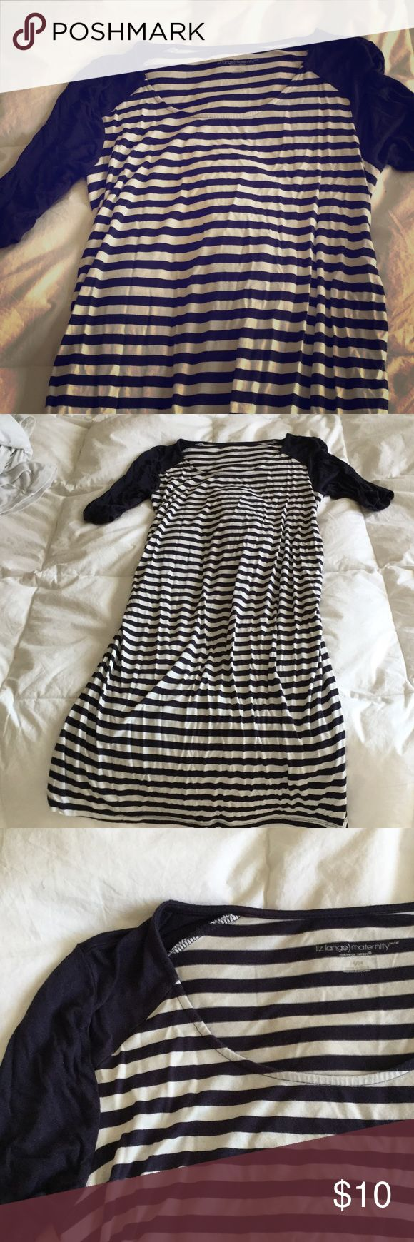 Liz Lange maternity dress Navy blue and white striped maternity dress. Super comfy and in good condition Liz Lange for Target Dresses Midi