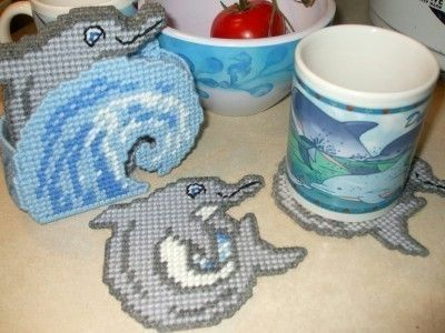 Dolphins in the Waves Coasters Plastic