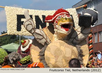 Photos of all the floats from Fruitcorso Tiel (Tiel Fruit Parade) held September 8, 2012 in the Netherlands.