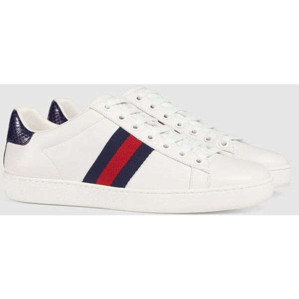 Gucci Ace Leather Sneaker (1.875 BRL) ❤ liked on Polyvore featuring shoes, sneakers, low profile sneakers, low profile shoes, gucci sneakers, rubber sole shoes and low top