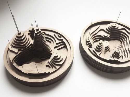 Laser cut wood bases. 3D landscape composed by wood layer.