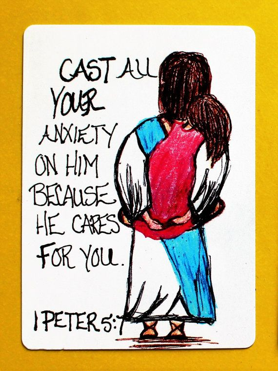 Scripture Doodle Memory Verse Cards/1 Peter 5:7/Cast all your cares on him/Bible Verse trading cards/Bible trading cards/bookmark/collector