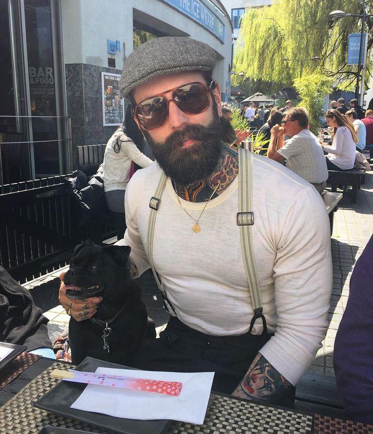 Ricki Hall - full thick beard mustache beards bearded man men mens' style fashion dapper clothing suspenders tattoos tattooed bearding #beardsforever