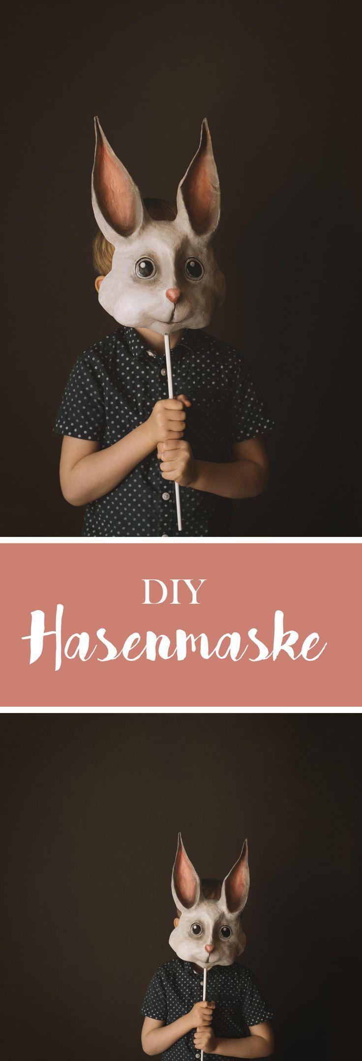 DIY Hasenmaske aus Pappmaché. Danach könnte man natürlich auch alle möglichen anderen Masken machen :)