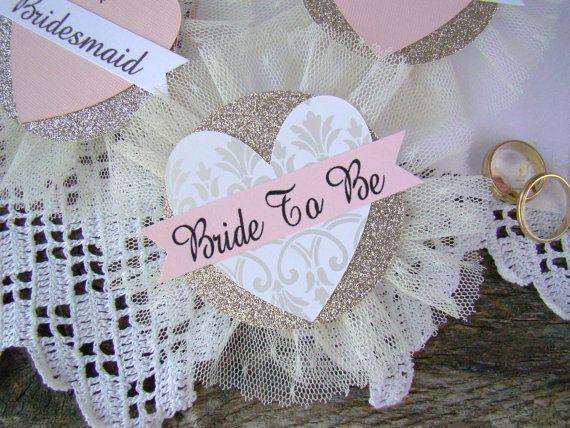 Bride Badge Bride To Be Heart Bride Corsage by TwiningVines