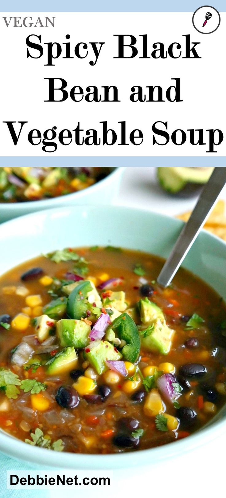 This delicious black bean and vegetable soup will have everyone coming back for seconds. GF, vegan, vegetarian. | DebbieNet.com