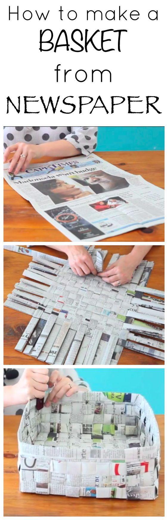 Korb aus Zeitungspapier - tolle DIY / Bastelidee für deinen nächsten Kindergeburtstag