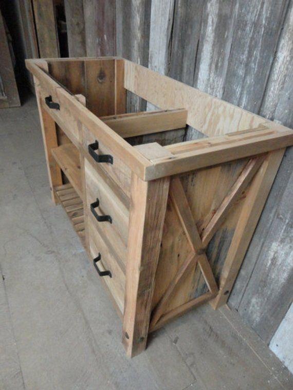Bathroom Vanity Made From Reclaimed Pine Barn Wood With Etsy Rustic Bathroom Designs Diy Bathroom Vanity Rustic Vanity