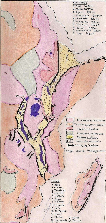 Volcanes, lagos y estructuras geológicas de Africa