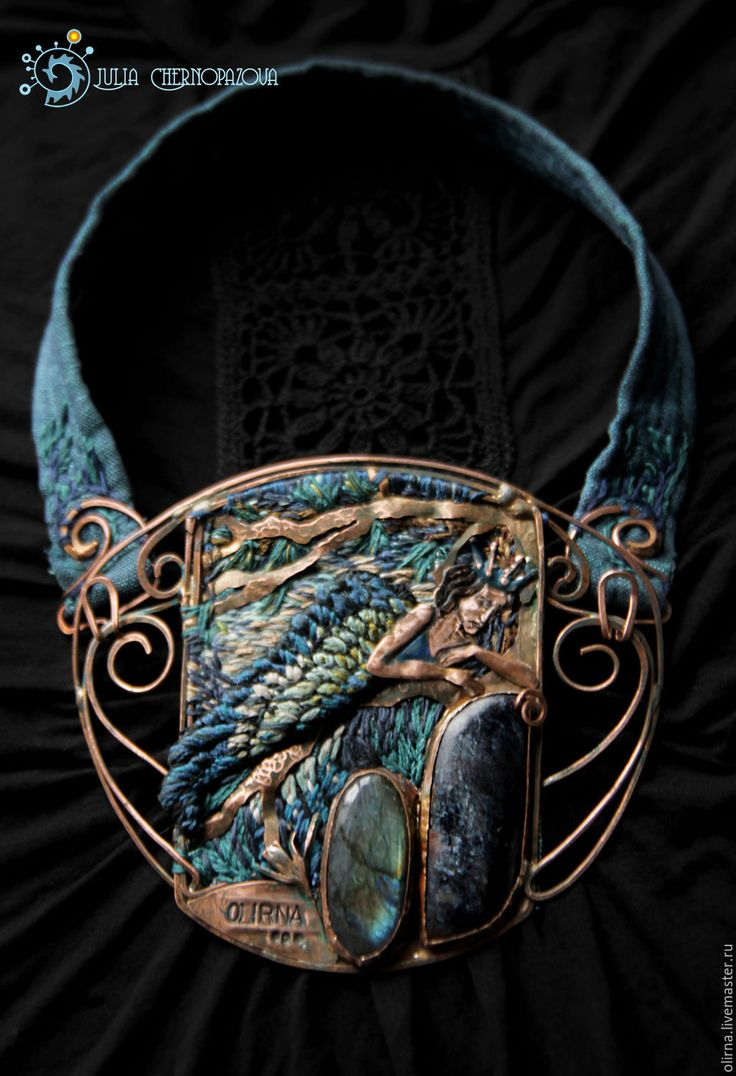 """Купить """"L'Oiseau bleu"""" колье вышивка - медные украшения, старинный, авторские украшения, легенды, феи"""