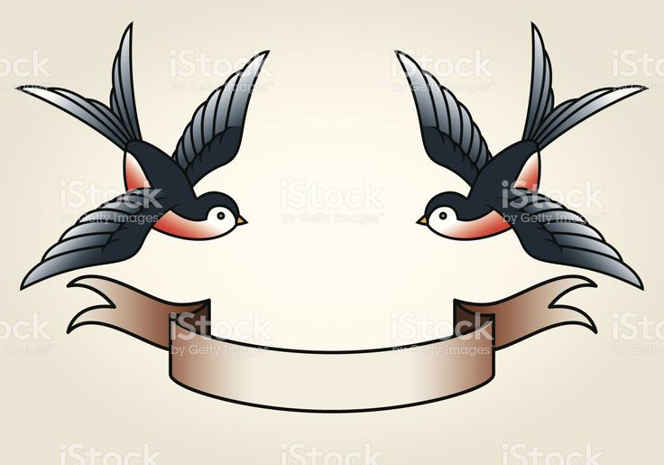 Classic Sailor-Tattoo Styled Swallows and Banner stock vector art 21708478 - iStock