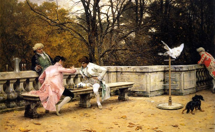 "fleurdulys: "" Playing Chess on the Terrace - Charles Bargue 1883 """