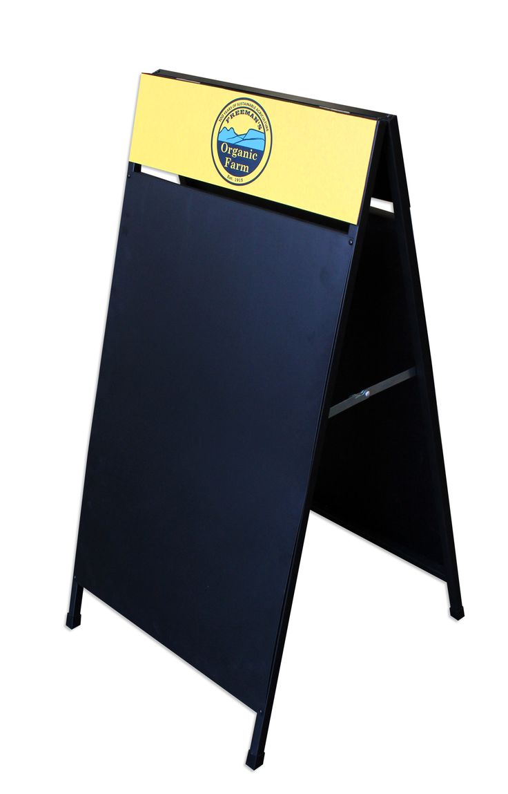 The dark blackboard helps make the sticker really pop! Star Outdoor can make your brand pop too! Call the branding experts on 1300 721 877 today to organise your customised A-Frame!