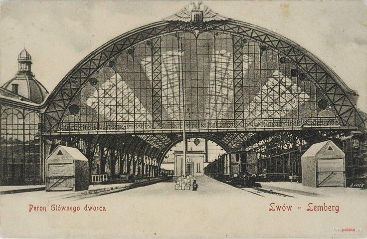 Dworzec Główny (Головний залізничний вокзал), Lwów - 1907 rok, stare zdjęcia