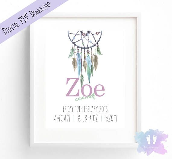Girl Boho DreamCatcher Birth Announcement Wall Art  Birth