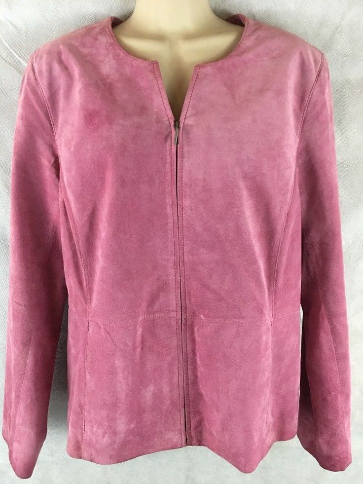 Charter Club Woman Pink Rose Leather Suede Zip Up Lined Jacket Size 10  #CharterClub #BasicJacket