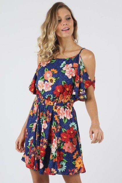 03437e157 Vestido Curto Farm Ombro Vazado Floral - BabadoTop