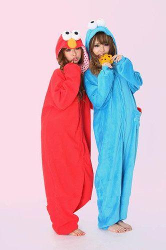 sesame street elmocookie monster costume adult romper costume pajamas onesie elmo costumebest friend halloween - Cute Bff Halloween Costumes