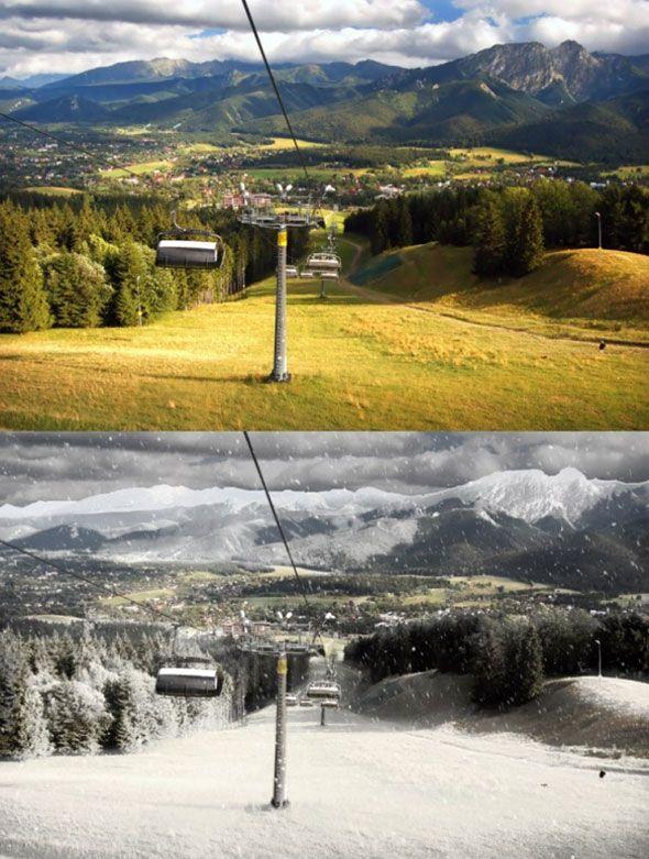 Превращаем летний пейзаж в зимний в Adobe Photoshop