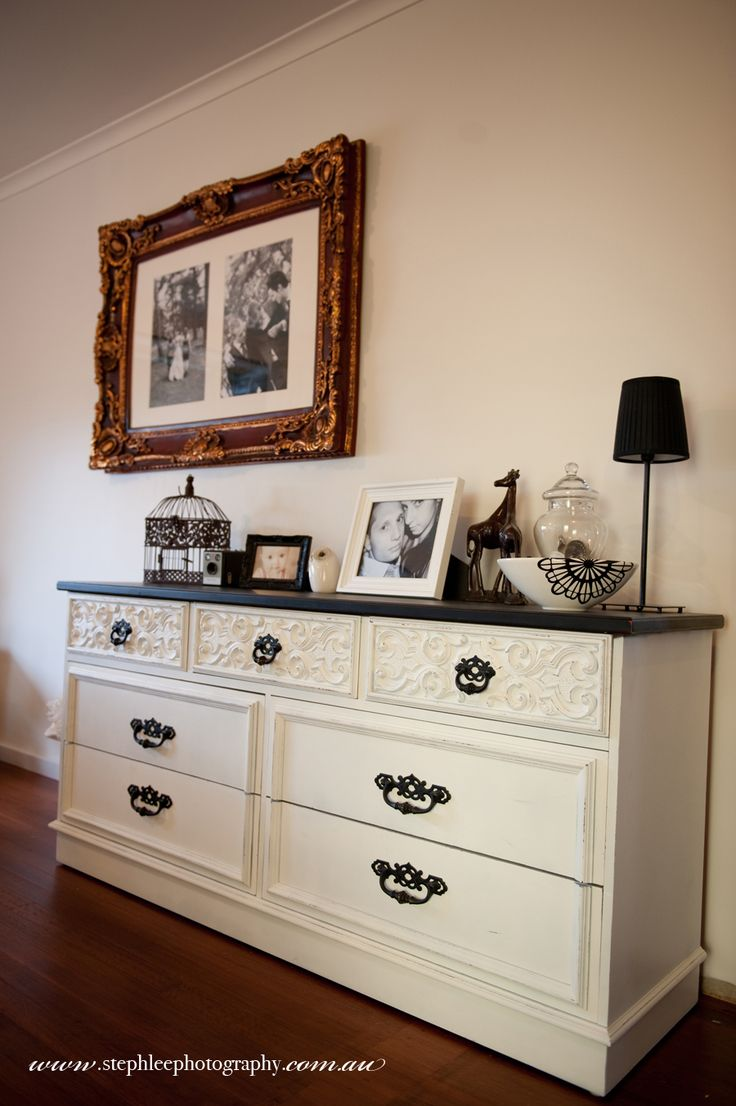 Thinking of doing my old dresser like this...love the black and white. Now if I could find drawer pulls similar to this...