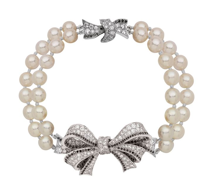 Chanel Boucles de Camélia bracelet in white gold, black and white diamonds and white akoya pearls. Price from £26,275