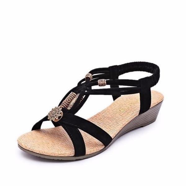 Les chaussures mot de boucle, tête de poisson sandales romaines paille talon compensé en daim, noir 36