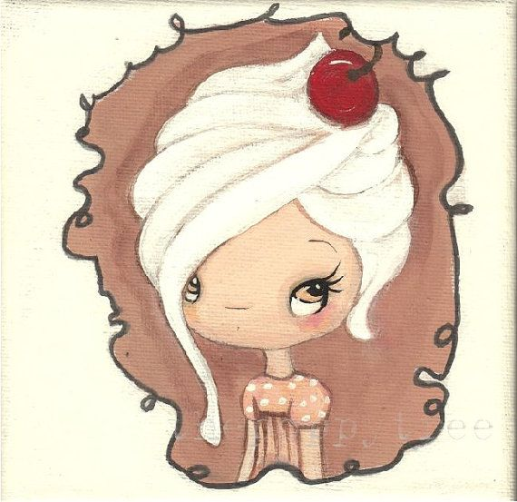 Cupcake Painting Cherry Girl Frosting Cake Wall Art---Original Painting 5 x 5 via Etsy