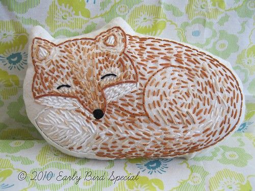 Fox embroider  Change it to a rock and use a sharpie to paint it.