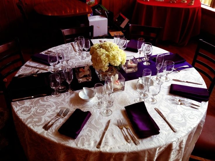 purple table settings wedding - Google Search