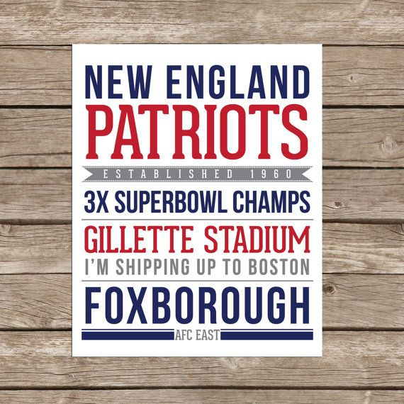 New England Patriots - Printable $10  printable, patriots, gifts for him, sports fan, man cave print, man cave, man cave, patriots, new england, gillette, foxborough, NFL, football fan