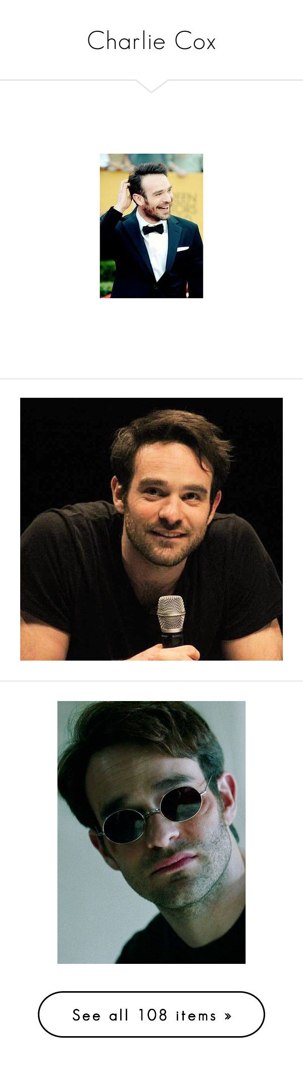 """Charlie Cox"" by oralis ❤ liked on Polyvore featuring charlie cox, actors, marvel, boys and daredevil"