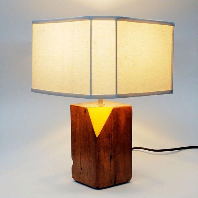 """""""Trinidad.  Reclaimed hardwood base. Off-white canvas shade #ylayastudio #lampshade"""""""