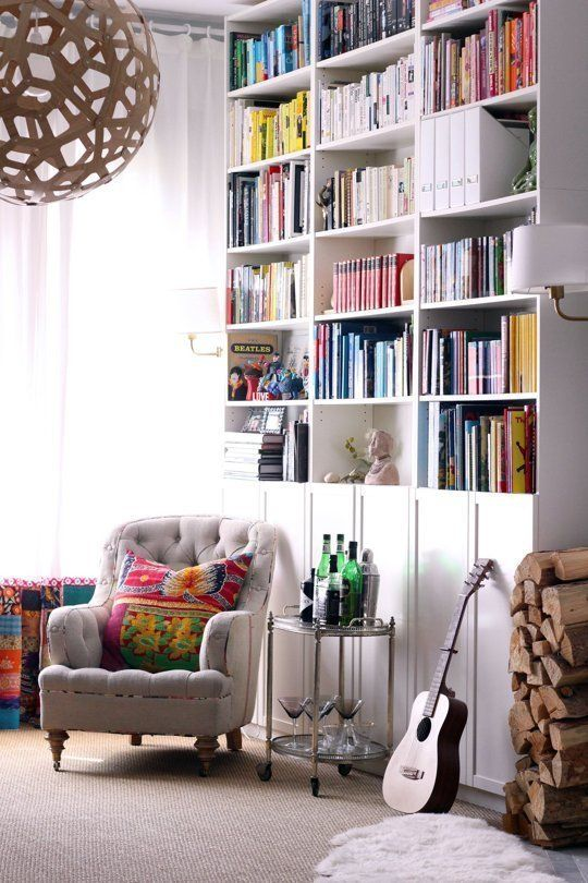 IKEA Billys 10 Ways: The World's Most Versatile Bookcase. i like the idea of a floor to ceiling bookcase made with these IKEA shelves.