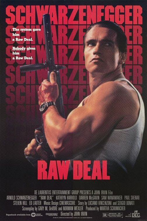 "1986, the movie ""Raw Deal"" debuted in theaters. ""Raw Deal"" is an American action film directed by John Irvin, starring Arnold Schwarzenegger, Kathryn Harrold, Darren McGavin and Sam Wanamaker. The film tells the story of an elderly and embittered high-ranking FBI chief, Harry Shannon, who wants to get revenge against a Mafia organization and sends a former FBI agent and now small-town sheriff Mark Kaminsky to destroy the organization from the inside."