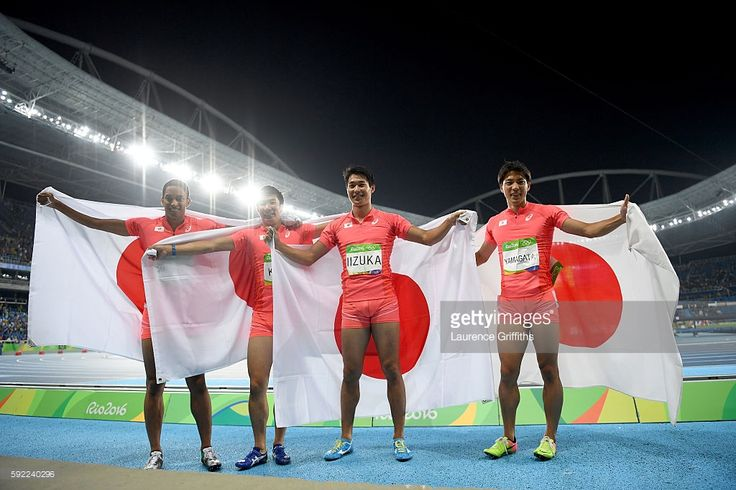 Ryota Yamagata, Shota Iizuka, Yoshihide Kiryu and Aska Cambridge of Japan celebrates after winning silver in the Men's 4 x 100m Relay Final on Day 14 of the Rio 2016 Olympic Games at the Olympic Stadium on August 19, 2016 in Rio de Janeiro, Brazil.