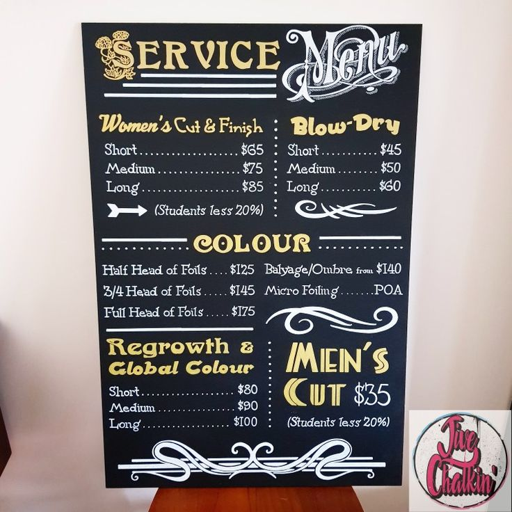 Service Menu chalkboard sign for Jarrah Hairdressing in Manly. If your hair needs a makeover, then Dean is your guy. He is an extremely talented hairdresser, so give him a call! ✂️