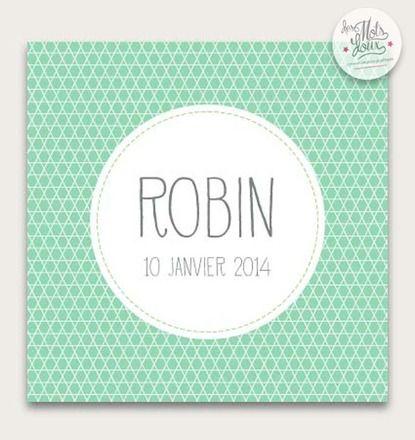 Faire - part naissance mixte original et élégant Robin : Faire-part par des-mots-doux