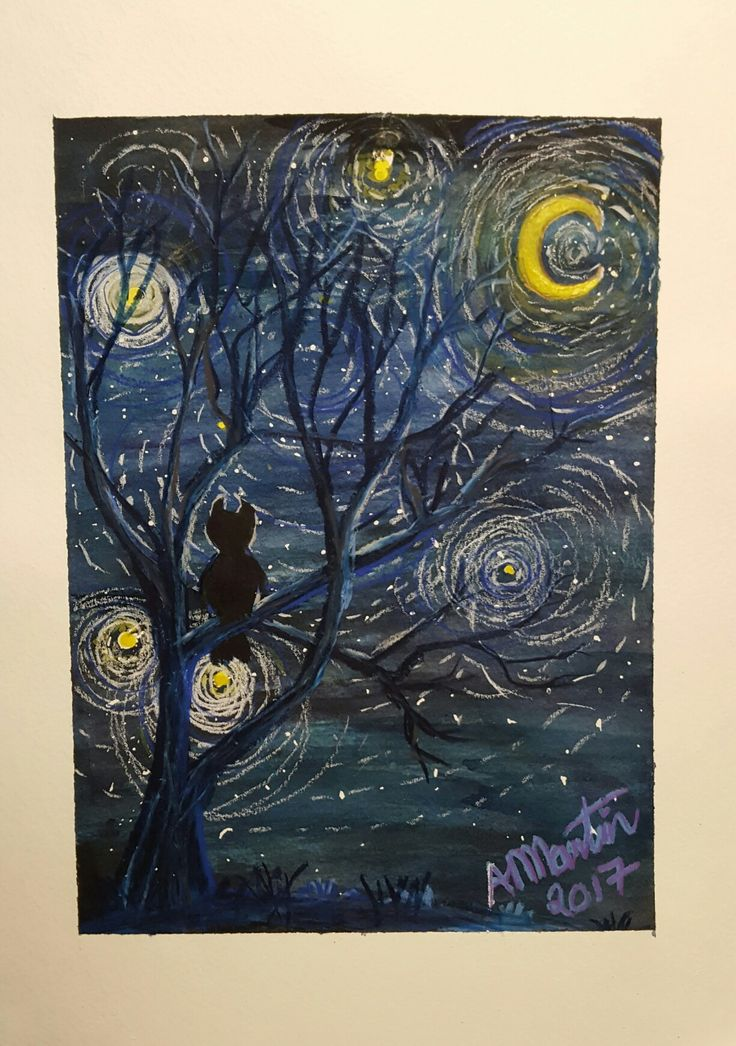 Nights Watch inspired by Vincent van Gogh Starry Night #OpusDailyPractice