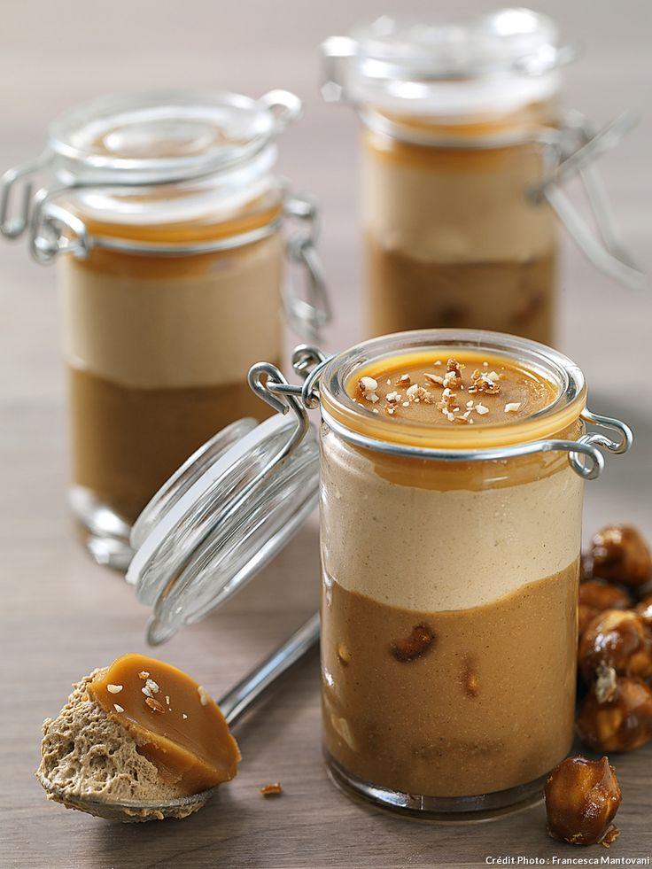 Verrines café-noisette et gelée caramel au cognac - Crémeux noisettes et crémeux café