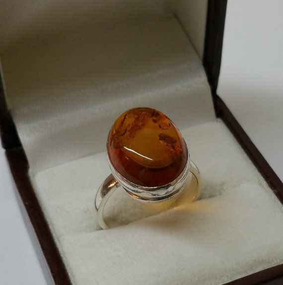 Ring Bernsteinring in 925er Silber 179 mm Size 75 von Schmuckbaron