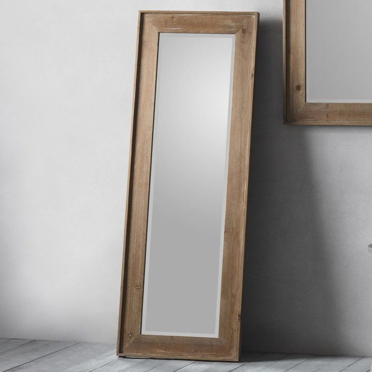 Full Length Leaning Mirror Rectangular Natural Wood Frame Living Room Accessory