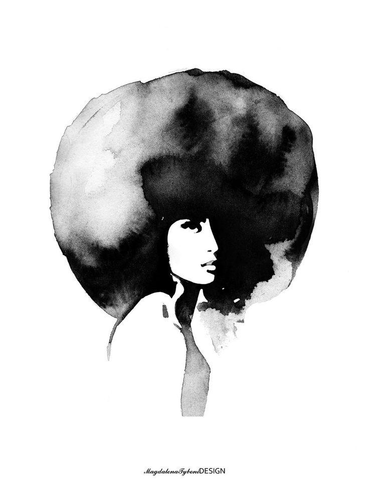 WOMAN WITH BIG HAIRCUT 30x40 via MAGDALENA TYBONI. Click on the image to see more!