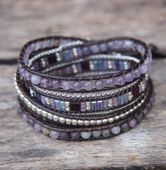 Amethyst mix Wrap bracelet 5 times wrap Boho bracelet by G2Fdesign