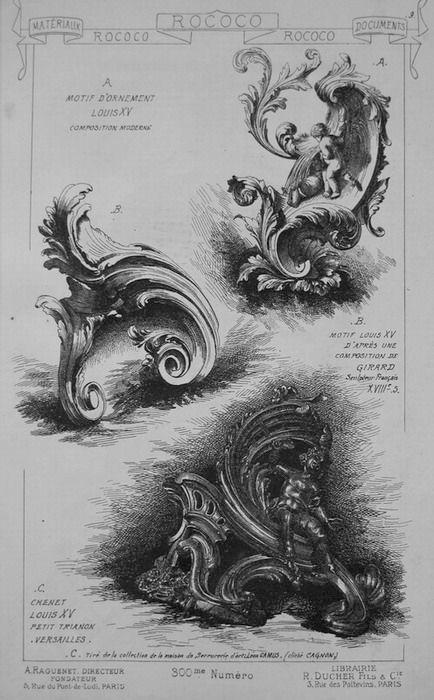 """Decorazione in stile Rococo.  Per via della sua frequenza in questi motivi ha portato, attraverso la deformazione di """"conchiglia"""" in francese, """"rocaille"""", al nome """"Rococo"""""""