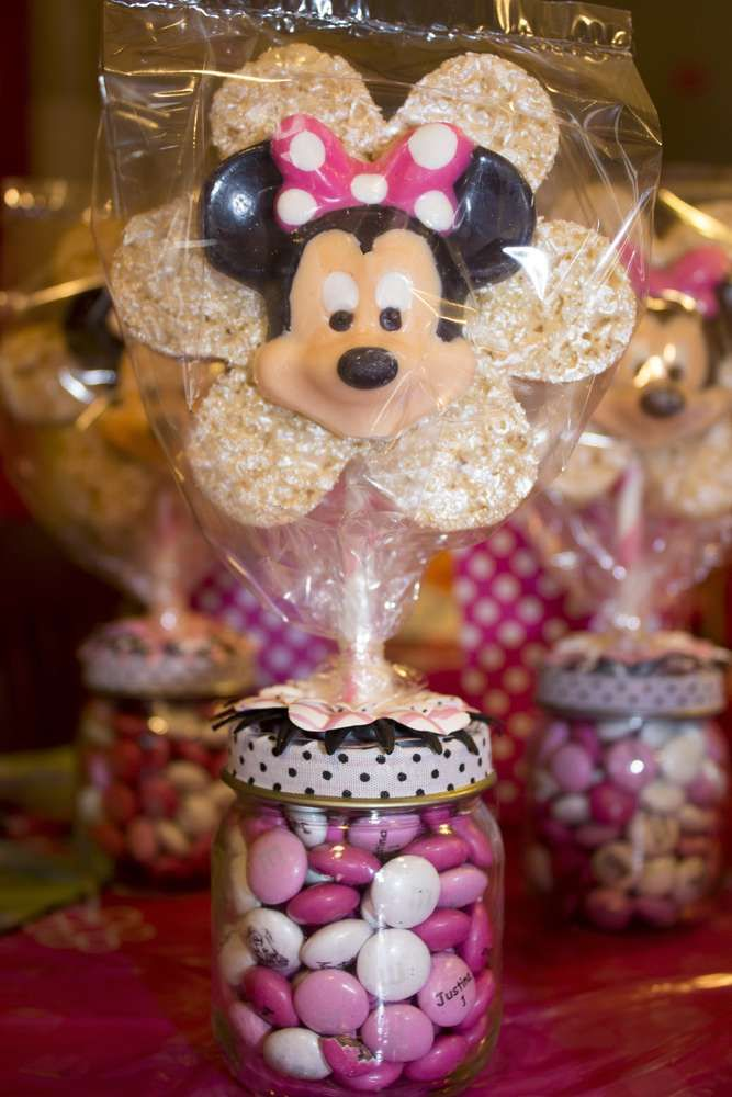 Minnie Mouse birthday party favors!  See more party planning ideas at CatchMyParty.com!