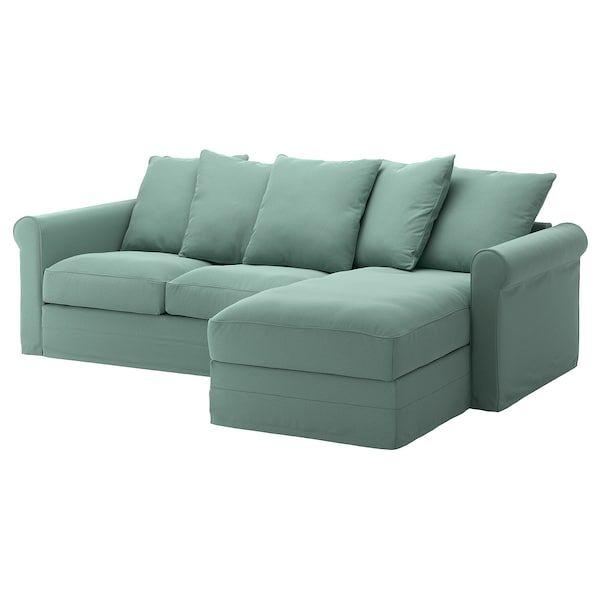 Gronlid 3er Sofa Mit Recamiere Ljungen Hellgrun Ikea
