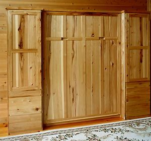 rustic murphy bed | Mission Style Queen Murphy Bed with Side Cabinets