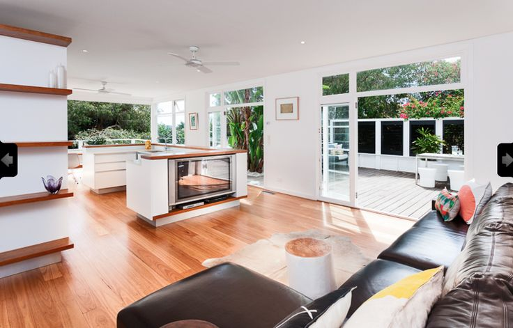 50s Beach House Reno- Walworth Ave Newport- living/kitchen area