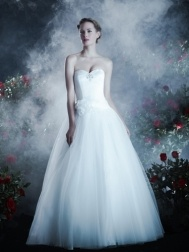 Anjolique Wedding Dress - Spring 20113 - Style 462. This lovely satin and tulle wedding dress features a classic strapless sweetheart neckline with beaded detail and corset back atop a full princess ball gown skirt, accented with a floral detail at the waist.